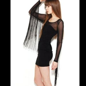 Akira Chicago Statement Fringe Mesh L/S Dress - S